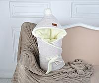 Велюровый конверт-одеяло, на махре, серый меланж