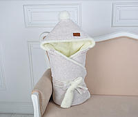 Велюровый конверт-одеяло, на махре, бежевый меланж