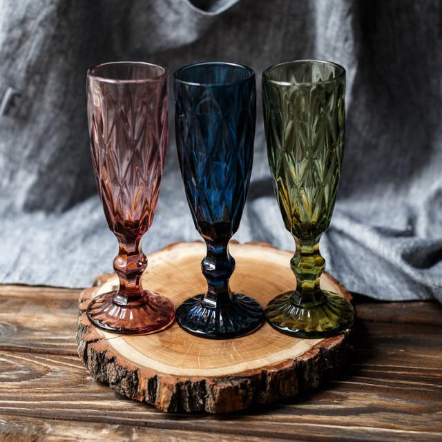 Цветные-винтажные бокалы кубок для шампанского
