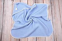 Вязанный конверт-плед с кисточкой, голубой, фото 1