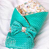 """Конверт-одеяло для новорожденного с плюшем  """"Единорожки"""""""