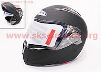 Шлем закрытый с откидным подбородком+очки HF-118 L- ЧЕРНЫЙ матовый