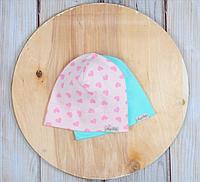 Набор трикотажных шапок, Сердечки, 3 размера, 42-54 см