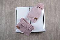 Набор Lucky - вязаная шапочка и снуд, пудра, фото 1
