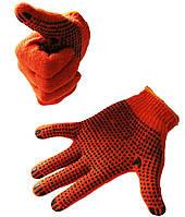 Перчатки рабочие (Х/Б) оранжевые, для садовых и бытовых работ