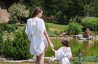 Комплект пончо, взрослое и детское, белый, фото 1
