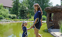 Комплект пончо, взрослое и детское, синий