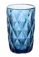 """Стаканы из цветного стекла """"Ромб"""" изумруд синий. Цветные стаканы, винтажные бокалы"""