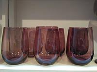 """Стаканы из цветного стекла """"Ромб"""" аметист бордо.Цветные стаканы, винтажные бокалы"""