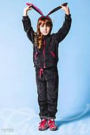 Темно-серый велюровый костюм для подростка Gepur 10733