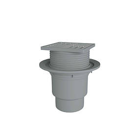 Трап вертикальный, регулируемый выпуск 110 мм с нержавеющей решеткой 15x15 см ANI Plast (TA1712)