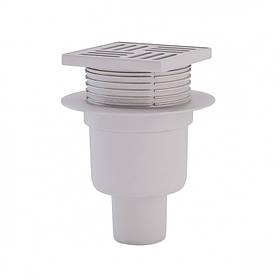 Трап вертикальный, регулируемый, выпуск 50 мм с пласт. решеткой 10x10 см ANI Plast (TA5704)