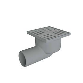 Трап сухой горизонтальный, выпуск 50 мм с нержавеющей решеткой 10x10 см ANI Plast (TQ5102)
