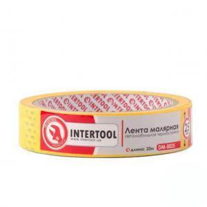Лента Intertool малярная автомобильная термостойкая 25мм, 20м, желтая (арт. DM-0025)