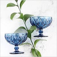 """Креманки из цветного стекла """"Ромб"""" изумруд синий. Цветные креманки, винтажные креманки"""