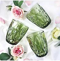 """Стаканы из цветного стекла """"Ромб"""" изумруд оливковый. Цветные стаканы, винтажные бокалы , фото 1"""