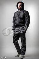 Мужской утепленный костюм черного цвета Gepur 8830