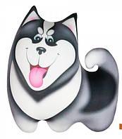 Подушка игрушка антистрессовая Хаски малая цвет серый 27*27 см, подушка собачка