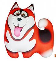 Подушка игрушка антистрессовая Хаски малая цвет оранж 36*36 см, подушка собачка