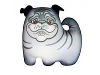 Подушка игрушка антистрессовая Мопсик малая цвет серый 36*36 см, подушка собачка