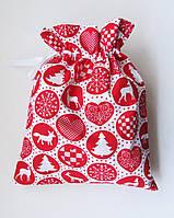 Новогодний Рождественский мешочек маленький 31*25 для подарков подарочная упаковка новогодняя, фото 1
