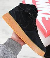 """Зимние мужские кроссовки Nike Air Force 1 High """"Black Gum"""" c мехом, найк аир форс"""