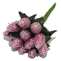 Декоративная клубника (малина) розовая на проволоке в присыпке 10 шт/уп