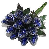 Декоративная клубника (малина) Синяя на проволоке в присыпке 10 шт/уп