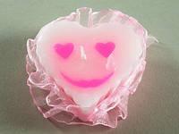 Сердце Смайл Розовое / Свеча 7x7x3 см