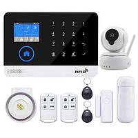 GSM, WiFi сигнализация PG103 с поддержкой RFID + камера видеонаблюдения охранная система для дома. Комплект D