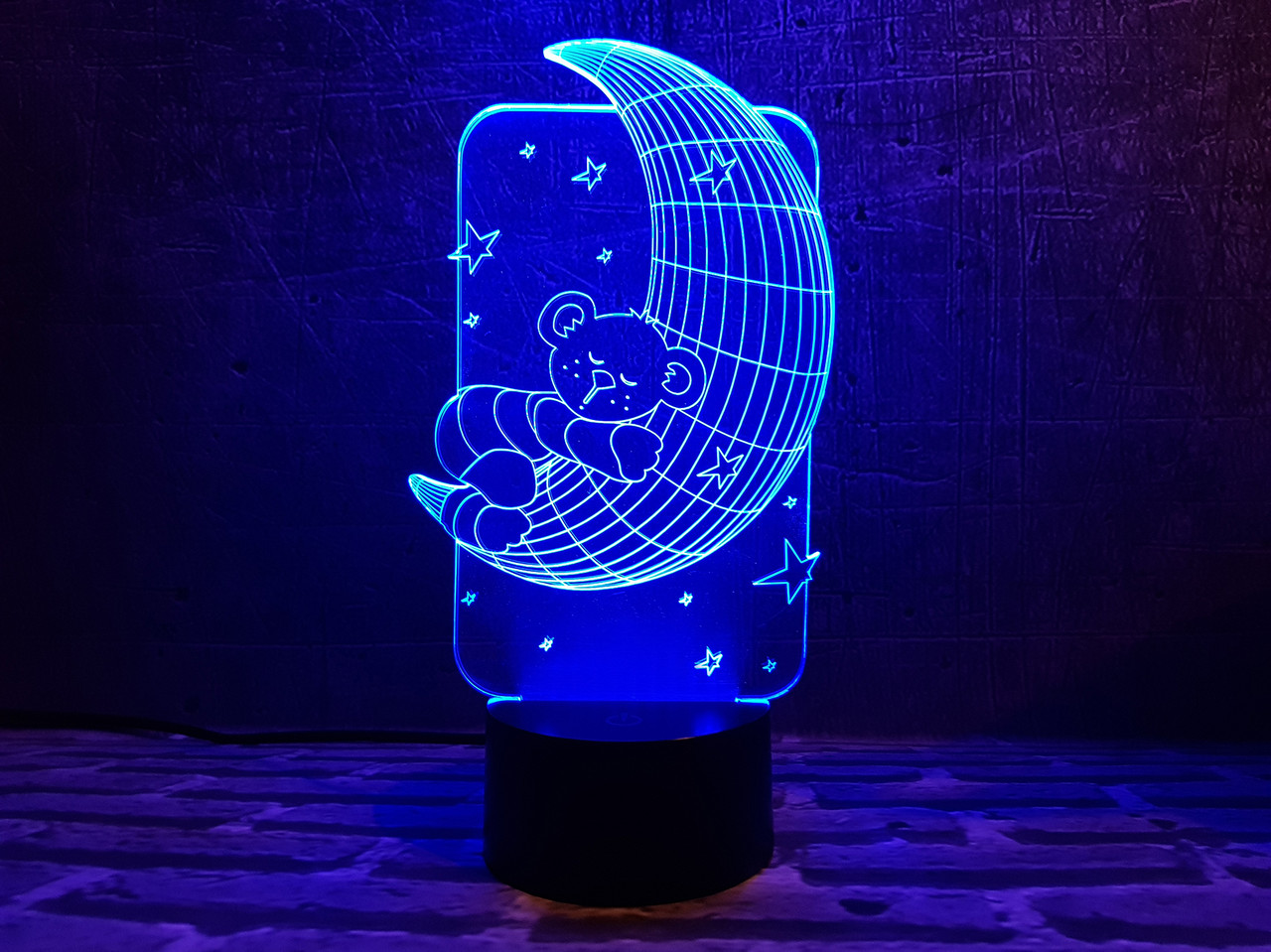 """Сменная пластина для 3D ламп """"Мишка на луне"""" 3DTOYSLAMP, фото 1"""