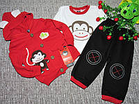 Детский костюмчик тройка на мальчика Обезьянка,реглан+кофта+штаны,много цветов!Турция на 9,12,18мес