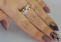 Срібне жіноче кільце 925 проби з золотими пластинами