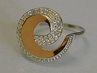 Стильне срібне кільце з золотом - Благо