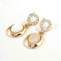 Сережки ювелірна біжутерія золото 18к декор кристали Swarovski, фото 1