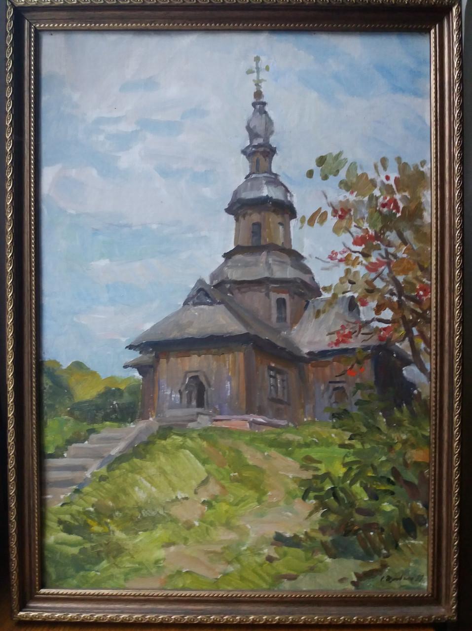 Картина И.Ф.Дзюбан Никольская церковь 1989 г.   Новгород-Северский