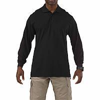 """Футболка Поло тактическая с длинным рукавом """"5.11 Tactical Professional Polo - Long Sleeve"""", Чёрный (Black)"""