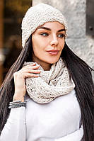 Молодежный вязаный комплект шапка на флисе и шарф - снуд