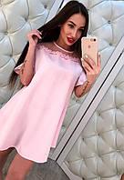 Женское модное розовое платье свободного кроя с открытыми плечиками