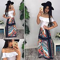 Женское красивое платье-макси в пол с принтованной юбкой