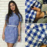 Женское повседневное платье-рубашка в клетку (2 цвета)
