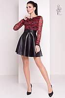 Короткие платья с юбкой солнце Карамель-1 из гипюра и экокожи