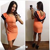 Женское стильное платье с плиссировкой и открытой спиной (4 цвета)