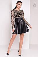 Короткие платья с юбкой солнце Карамель-2 из гипюра и экокожи