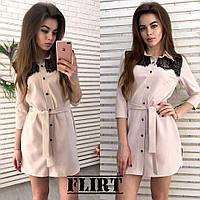 Женское модное платье-рубашка с кружевом (5 цветов)