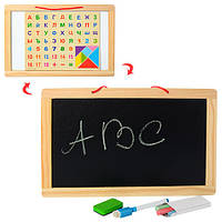 Деревянная магнитная доска для рисования с буквами и цифрами MD 1147