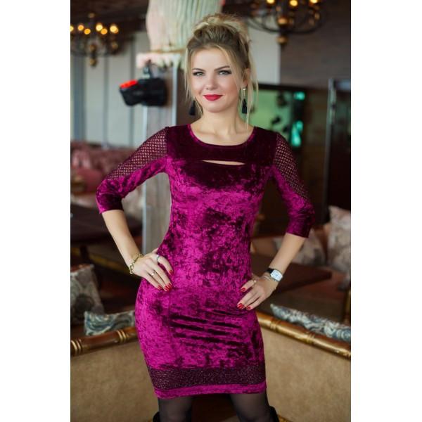 d2a18d70963d08 Міні-сукня з велюру та сітки - «Чарівна Пані» — магазин стильного жіночого