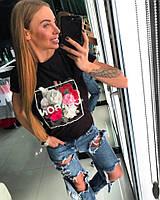 Женская модная оригинальная футболка с цветами HAND MADE (2 цвета)