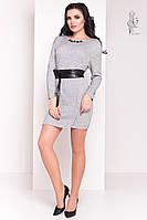 Ангоровое женское платье Ломи-3 с кожаным пояском, фото 1