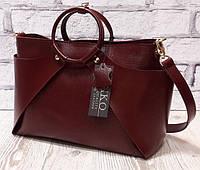 Оригинальная сумка из натуральной кожи марсала 1685, фото 1